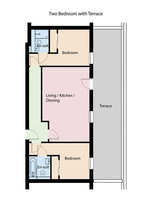 two bed with terrace floorplan
